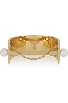 Chloé|Darcey gold-tone Swarovski pearl cuff|NET-A-PORTER.COM