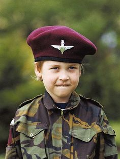 DUTY BOUND  He's got his future all figured out! Twenty years before joining the military, William dons the camouflage attire and burgundy beret of the Parachute Regiment during a 1986 summer trip to Highgrove House, the royals' country estate in Gloucestershire.