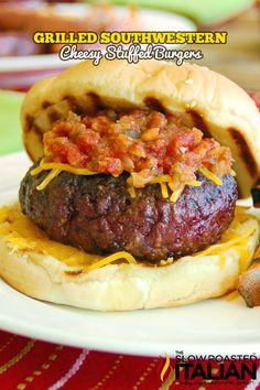 Grilled Southwestern Cheesy Stuffed Burgers
