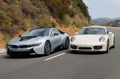 BMW i8 vs. Porsche 911 - Comparison - http://www.bmwblog.com/2014/06/02/bmw-i8-vs-porsche-911-comparison/