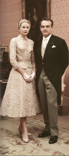Grace and Ranier's civil marriage ~ Monaco required both a civil and church wedding.  On 18 April 1956, they were civally married.  Before her official state wedding, Grace wore a rose pink taffeta suit covered in Alencon lace designed by Helen Rose, white gloves, and a Juliet cap.