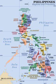 Un mapa de las Filipinas que exhibe sus 17 regiones y 81 provincias.