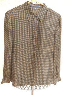 Josephine Chaus 12 Silk Georgette Shirt Black Brown Long Sleeve Elegant New NWOT #JosephineChaus #ButtonDownShirt #Career