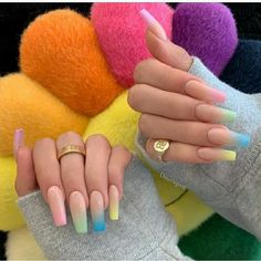 In seek out some nail designs and ideas for your nails? Here's our list of 23 must-try coffin acrylic nails for fashionable women. Sky Nails, Fire Nails, Easter Nails, Best Acrylic Nails, Dream Nails, Nagel Gel, Stylish Nails, Perfect Nails, Acrylic Nail Designs