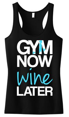GYMNow WINE Later Tank Top Black with Teal. Grab yours at https://nobullwoman-apparel.com/collections/fitness-tanks-workout-shirts/products/gym-now-wine-later-tank-top-black-with-teal