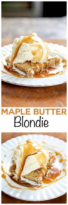 Chewy walnut white chocolate blondies topped with a sinful maple brown sugar sauce. SO good!: