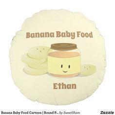 Banana Baby Food Cartoon | Round Pillow
