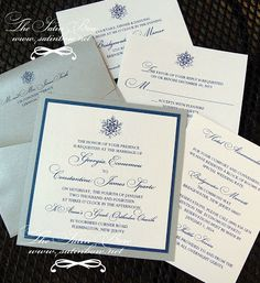 Winter Wedding Invitation - Snowflake, Silver, Navy Blue, White - Square with Rhinestone Accent - By The Satin Bow