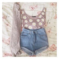 High waisted shorts a cardigan and sunflower top