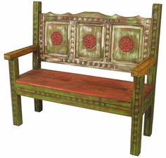 Old Wood Carved Painted Rustic Bench - This carved and painted wood bench is made of repurposed old wood and crafted by the skilled hands . Wood, Woodworking Chair, Wood Bench, Woodworking Stand, Rustic Bench, Painted Chairs, Old Wood, Southwest Furniture, Painted Benches