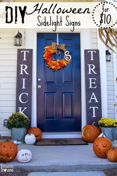 Bless'er House | DIY Halloween Sidelight Signs {and Fall Porch Reveal} #affordabledecor #halloween