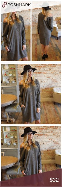 Charcoal Ribbed Knit Loose Fit Dress with Pockets New never worn. Purchased from @scanon and pics are hers. See last pic for info Dresses Long Sleeve
