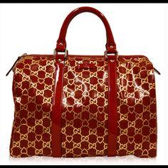 Gucci Red & Gold Patent Heart Monogram Boston Bag