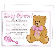 Baby Shower Invitations : GirlBear Baby Shower Template