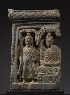 Narrative Panel with Buddhas<br>Grey schist<br>Ancient region of Gandhara, Kushan period | lot | Sotheby's 14-1/2""
