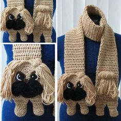 Pekingese Crochet Scarf Pattern - lots of animal scarves in our post including 10 free patterns