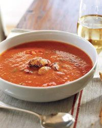 Roasted Red Pepper Soup with Seared Scallops Recipe on Food & Wine Annabel Langbein loves oven-roasted peppers. Here she transforms them into a silky soup seasoned with cumin, crushed red pepper and cilantro, and finished with seared, sweet scallops. Wine Recipes, Paleo Recipes, Soup Recipes, Cooking Recipes, Oven Roasted Peppers, Roasted Red Pepper Soup, Paleo Soup, Scallop Recipes, Soup And Salad