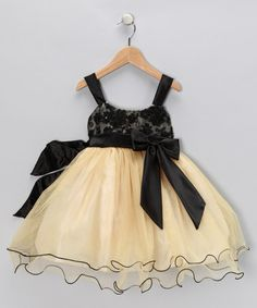 Take a look at this Chic Baby Gold & Black Bow Dress - Toddler & Girls by Chic Baby on #zulily today!