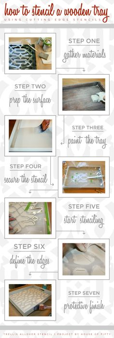 Simples steps to learning how to stencil a wooden tray using stencils from Cutting Edge Stencils! http://www.cuttingedgestencils.com/allover-stencil.html  #cuttingedgestencils #stencils #stenciling #wallstencils #diy #decor #tray #howto