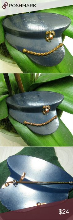 WWII NAVY Blue Gold Hat Sweetheart Brooch Unique vintage WWII blue and gold Sweetheart brooch. Worn by family and loved ones of WWII Navy personnel, these Sweetheart pins were a symbol of support and caring.   This 1940s military piece has thick blue enamel applied over base metal and is accented by a mini gold tone Navy hat badge and gold tone military braid.   Weighing 23.5g, this is a substantial piece. A period roll over catch holds brooch securely.  Slight crazing evident under…