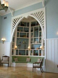 Awesome reading nook! i would only change it to look more rustic to fit in with the log cabin theme i have in mind!