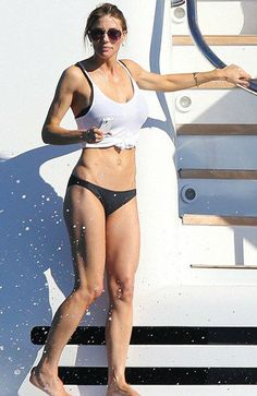 old wife of 25 years to 67 yr. old Sylvester Stallone Jennifer Flavin looked amazing on a yacht in Saint-Jean-Cap-Ferrat in France on Thursday Jennifer Flavin, Sylvester Stallone Wife, Sistine Rose Stallone, American Gladiators, Janice Dickinson, Angie Everhart, Fact Families, Ferrat, Height And Weight
