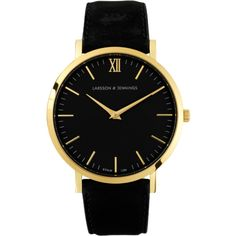 LUGANO 40mm ($270) ❤ liked on Polyvore featuring jewelry, watches, gold jewellery, black gold jewelry, gold jewelry, yellow gold watches and gold wristwatch