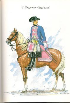 Prussia; Dragoon Regtiment Nr.3, Officer, c 1757 by G.Donn