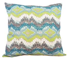 Two Blue and Green Ikat Pillow Covers  20 x by CastawayCoveDecor