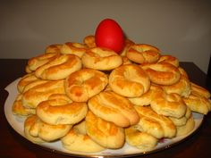 Greek Sweets, Greek Desserts, Greek Recipes, Greek Cookies, Almond Cookies, Delicious Deserts, Yummy Food, Easter Recipes, Dessert Recipes