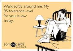 Walk softly around me. My BS tolerance level for you is low today.