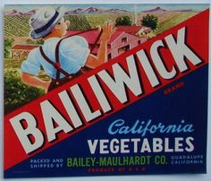 BAILIWICK Vintage Vegetable Crate Label(S)