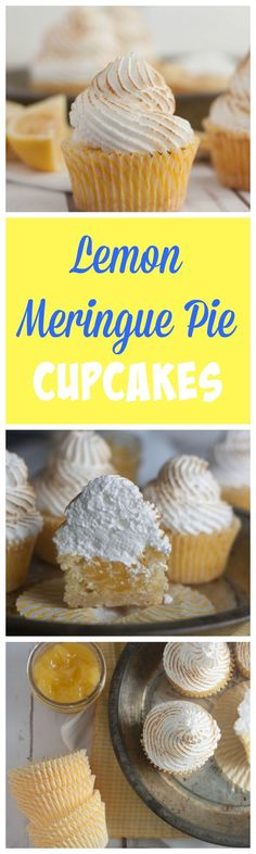 Lemon Meringue Pie Cupcakes- everything you love about lemon meringue pie in cupcake form! Starting with a lemon shortbread crust, lemon cupcake and lemon curd in the middle- topped with a torched meringue frosting!