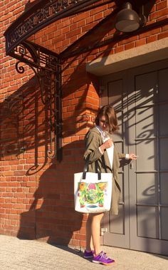 shopping bag with leather handles by kulik. the feeder graphic print tote bag.