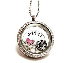 Large Crystal Floating Charm Locket / Name Plate / Couples Necklace /  Floating Charm Locket