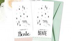 uniek geboortekaartje #scandinavische stijl #driehoek #beer #mint groen #roze www.charlyfine.nl