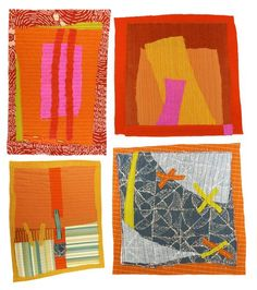 Quilter Karen Anne Glick produces these beautifully abstract art quilts on the daily! You can read more about her unique process via her Esty site. Collages, Collage Art, Small Quilts, Mini Quilts, Quilting Projects, Quilting Designs, Art Quilting, Contemporary Quilts, Quilt Modern