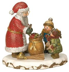 Small Figures & Ornaments Winter Children Thank you dear Santa Claus - 9cm / 3,5inch - Hubrig Volkskunst. #SantaClaus #Santa #Claus #Christmas  #Figurine #Decor #Gift #gosstudio .★ We recommend Gift Shop: http://www.zazzle.com/vintagestylestudio ★