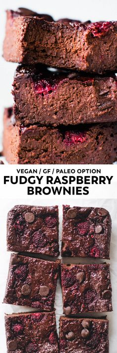 Fruity and EXTRA fudgy berry-studded brownies. These easy raspberry blender brownies taste like (healthier) chocolate heaven! #vegan #chocolate #glutenfree #dessert #paleo #raspberry