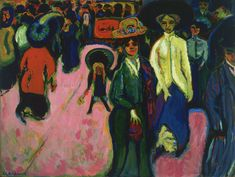 """Ernst Kirchner STREET, DRESDEN 1908 (dated 1907 / reworked 1919) o/c 47.5 x 35 7/8"""" MoMa GERMAN EXPRESSIONISM"""