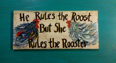 Rooster Chicken Sign Acrylics Folk Art Painting