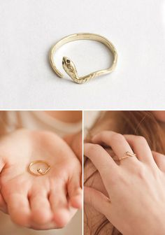 gold snake ring with black diamond eyes by matcha jewelry