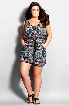 City Chic 'Maya' Print Romper (Plus Size) available at #Nordstrom