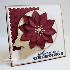 Seasonal Sentiments; Poinsettia Die-namics; Postage Stamp STAX Die-namics; Circle STAX Set 1 Die-namics; Pierced Circle STAX Die-namics; Petal Pattern Stencil - Julie Dinn by wanda