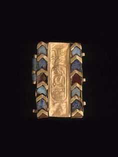 MFA Boston. Bracelet fragment with cartouche of Nefertari, said to be from her tomb in the Valley of the Queens. Dynasty 19. Gilded Silver with frit inlays.