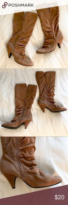 Charlotte Russe High Heeled Knee High Brown Boots Charlotte Russe High Heeled Knee High Brown Boots, slit at the top, Suede Brown, Size 10, 2 inch heel, slightly worn as pictured Charlotte Russe Shoes Heeled Boots
