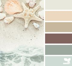 Shore Tones Coastal Decor Color Palette from Design-Seeds Paint Schemes, Colour Schemes, Color Combos, Beach Color Schemes, Beach Color Palettes, Neutral Color Palettes, Neutral Tones, Bathroom Colors, Bathroom Beach