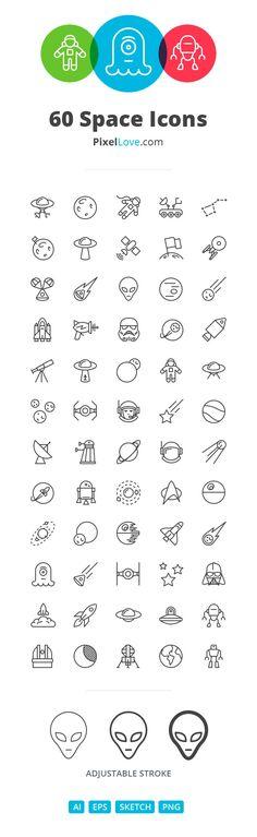 PixelLove, 60 impresionantes iconos lineales de iOS