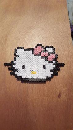 Hello kitty perler bead badge