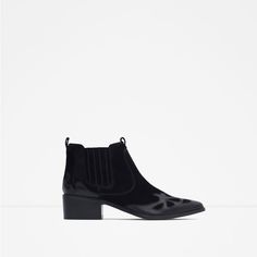ZARA - COLLECTION SS16 - BLOCK HEEL LEATHER COWBOY ANKLE BOOTS